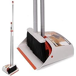 """Ensemble de pelle à poussière et balai / Pelle verticale debout avec balai à manche long de 40 """"/ 54"""" pour le balayage de plancher dans le hall des bureaux à domicile"""