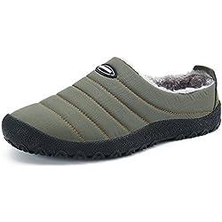 DAFENP Herren Damen Winter Hausschuhe Plüsch Warm Gefüttert Pantoffeln Slippers Freizeit Outdoor Indoor Schuhe,XZ322-grey-EU36