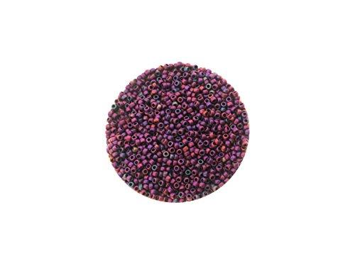 Toho Rocailles, 15/0 (ca. 1,5mm), 5g, TR515F Higher-Metallic Frosted Mardi Gras, hochwertige japanische Glasperlen für Schmuck, Armbänder selber machen, basteln und Deko