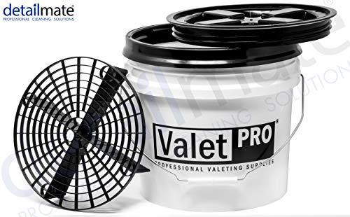 detailmate Set - ValetPRO Wash Bucket 3,5 Gal (ca.12L) Wascheimer by Grit Guard + GritGuard Einsatz + Deckel Gamma Seal Lid c + Grit + Deckel