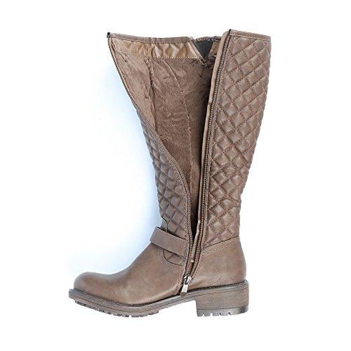 Ideal Shoes–Stiefel klassischen Format dekoriert mit Gurtbändern/Amphibien Taupe