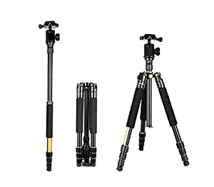 Goliton® Kit Trépied Professionnel Portable et Monopode pour appareil photo reflex numérique / Rotule panoramique pour voyageurs