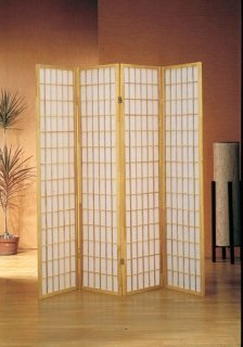 Vier-panel-natural (4 Panel Natural Oriental Shoji Screen / Room Divider by The Furniture Cove)