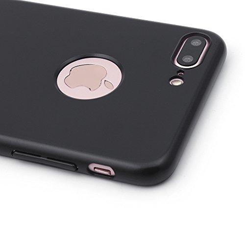 iProtect Apple iPhone 7 Plus, iPhone 8 Plus Hülle Farbverlauf Hard Case Schutzhülle orange matt schwarz.