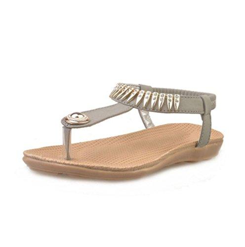 Frau offene Sandalen Wort Stil Strand lässige Schuhe, flache Schuhe wilde Schüler Grey