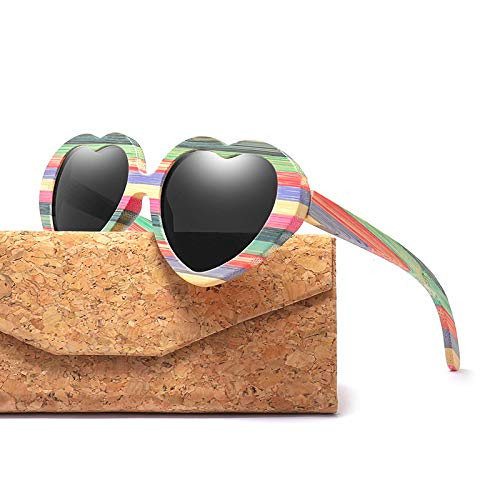 LKVNHP Mode Herz Sonnenbrillen Frauen Holz Bambus Sonnenbrille Herren Polarisierte Rosa SchattenC3 Grau