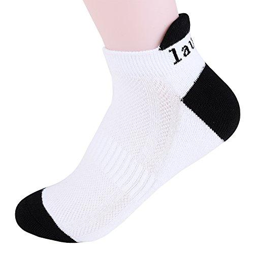 Laulax® Coolmax Chaussettes de course professionnel en 16 Designs pour homme et femme Large Blanc - Achilles Tendon Protection, White, Black Toe
