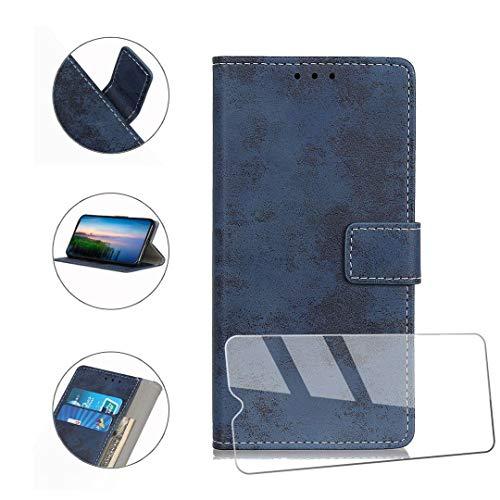 HYMY Hülle für Wiko View 3 Lite + Schutzfolie - Blau Retro-Stil PU Leder Lederhülle Flip Schutzhülle Card Slot mit Brieftasche Handyhülle Case für Wiko View3 Lite (6.09