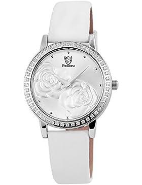 Pierrini Damen Armbanduhr Lederband Analog Quarz Weiß 192222500001