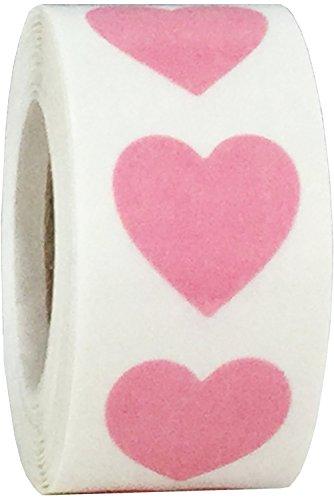 Transparent Rosa Herz Aufkleber, 19 mm 3/4 Zoll Breit, 500 Etiketten auf einer Rolle (Transparente Rosa Etiketten)