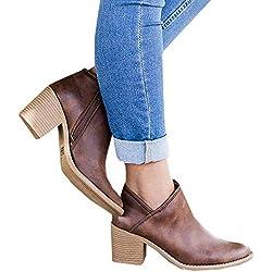 Botines Mujer Tacon Medio Invierno Planos Tacon Ancho Piel Botas Botita Moda 5cm Casual Planas Zapatos Calzado Caqui Rosa Azul Negros 35-43 BR39