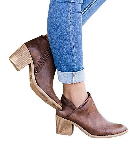 Hafiot Chelsea Boots Stiefeletten Damen Kurzschaft Leder mit Absatz Kurze Reissverschluss Bequem Stiefel Winter 5cm Schuhe Beige Rosa Blau Grau Schwarz 35-43 BR41