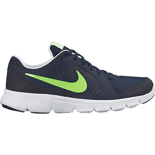 Nike Flex Experience Leather Scarpe Da Corsa, Bambino Nero / Verde / Bianco (Obsidian / Voltage Green-White)