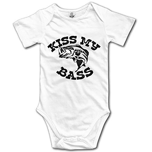 GJDcase Kiss My Bass Baby Romper Short Sleeve Onesie Unisex Cute Baby Bodysuit -