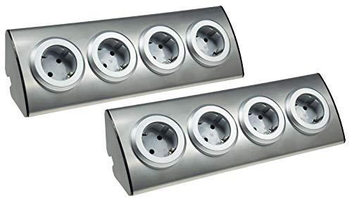 4-Fach Edelstahl Ecksteckdose mit Schutzkontakt-Steckdosen 230V, 45° Winkel, Innen vorverdrahtet Edelstahl gebürstet I 2 Stück