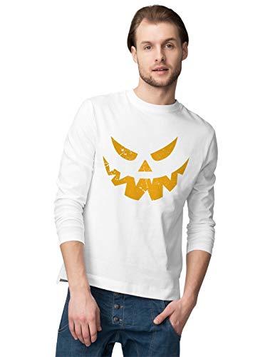 tressed Grunge Scary Halloween Pumpkin Face Herren Langarmshirt XL ()