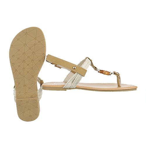 Zehentrenner Damenschuhe Peep-Toe Blockabsatz Zehentrenner Schnalle Ital-Design Sandalen / Sandaletten Beige