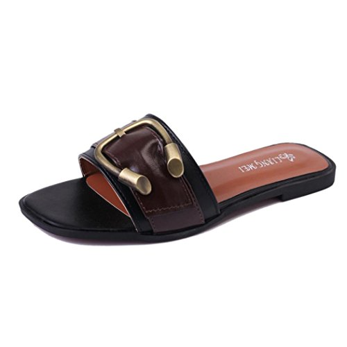 a61ad2395575 hunpta Women s Summer Shoes Peep-toe Low Shoes Roman Sandals Ladies Flip  Flops.