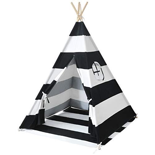 MECHHRE Tipi Spielzelt für Kinder - Segeltuch Kinderzelt - Kinder Zelt Tipi Zelt kinderzimmer spielzelt Junge mädchen Indianer