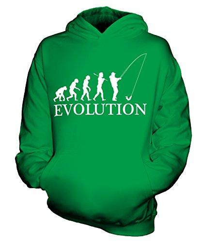 CandyMix Angeln Fischfang Evolution Des Menschen Unisex Kinder Jungen/Mädchen Kapuzenpullover, Größe 3-4 Jahre, Farbe Grün