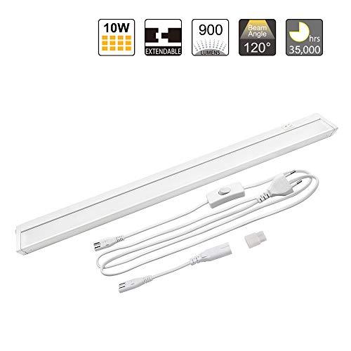 Lampara Aplique de Pared de LED 10W Giratoria Conectable Blanco Moderna Longitud 579MM Luz Blanca 4000K para Cocina y Baño, Lámpara con Interruptor y Cable de Alimentación y Enchufe de Enuotek