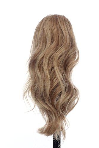 Prettyland - 30cm kurz mittellange Klammer leicht gewellt Pferdeschwanz Zopf Haarteil- blond Aschblond gesträhnt HMD5025