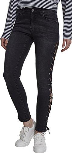Urban Classics Damen Skinny Jeans Ladies Denim Lace Up Pants, Schwarz (Black Washed 00709), 34 (Herstellergröße: ()