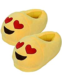 Qualtos Yellow Smiley Warm Shoes Emoji Bedroom Slipper Free Size Indoor Slipper Funny Soft Plush for Adults Kids Teens Bedroom Smiley Poop Comfy Socks Womens Girls Non-Skid Footpads