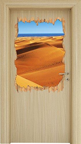 Preisvergleich Produktbild Wüste am Meer Holzdurchbruch im 3D-Look ,  Wand- oder Türaufkleber Format: 92x62cm,  Wandsticker,  Wandtattoo,  Wanddekoration