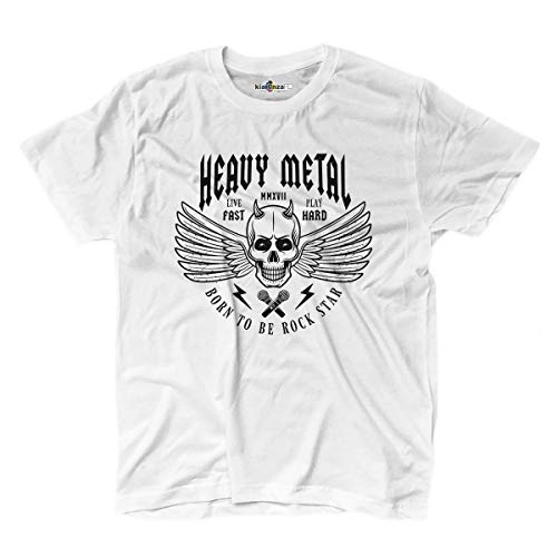 KiarenzaFD T-Shirt Musica Hard Rock Heavy Metal Totenkopf Old School Star Shirts, KTS02172-M-white, weiß, Medium - Pantera-metal-skull T-shirt
