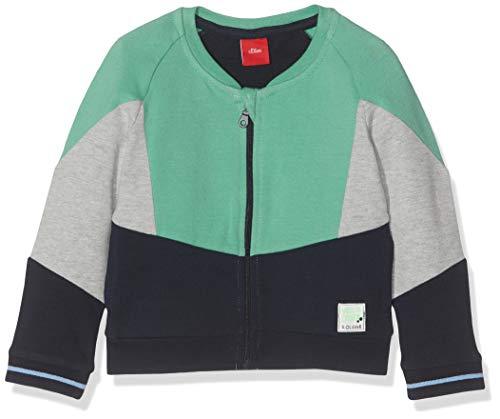 s.Oliver RED LABEL Unisex - Baby Sweatjacke mit Colourblocking blue/green/grey melange 92