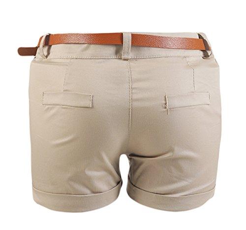 Damen Hotpants Hot Pants Sommer kurze Hose Shorts Stoffhose Boyfriend Baggy Bermuda Panty Chino Sommer inkl. Gürtel Beige