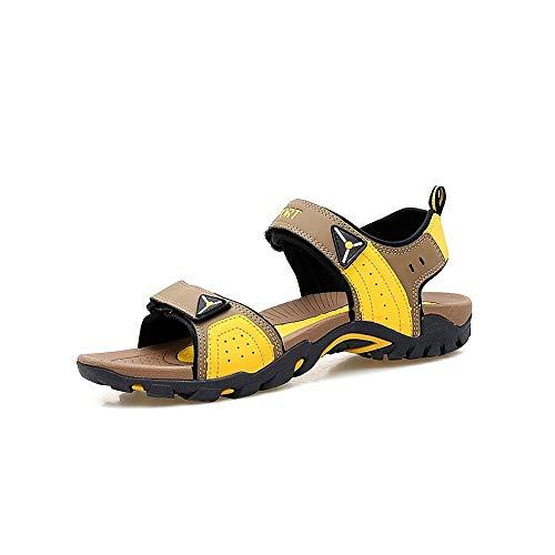 HILOTU Sandali Sportivi Estivi per Uomo Scarpe da Acqua per Esterni Slip On Style PU Cuoio Gancio Loop Strap Match Colori Pantofole (Color : Brown Yellow, Dimensione : 40 EU)