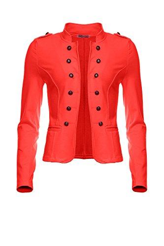 Mayaadi 6069 Damen Jacke Blazer kurz Admiral Uniform Mantel mit Military Knopfleiste Lachs-L (Armee Kadett Kostüme)