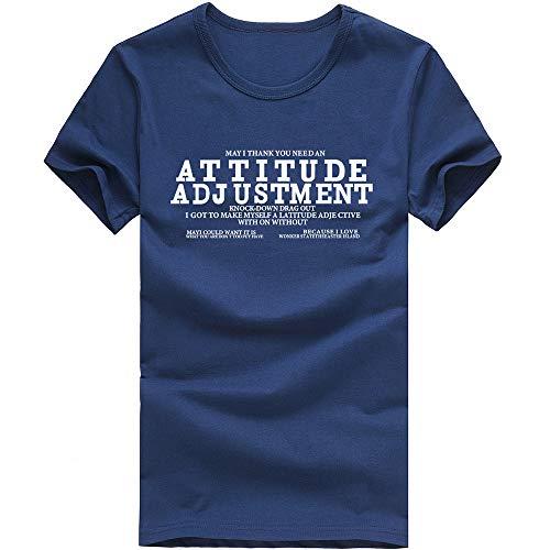 IMJONO Jubiläumsfeier Männer T-Shirt Tops Männer Junge Brief Druck Tees Shirt Kurzarm Baumwolle T-Shirt Kleidung NY/XL(X-Large,Marine)