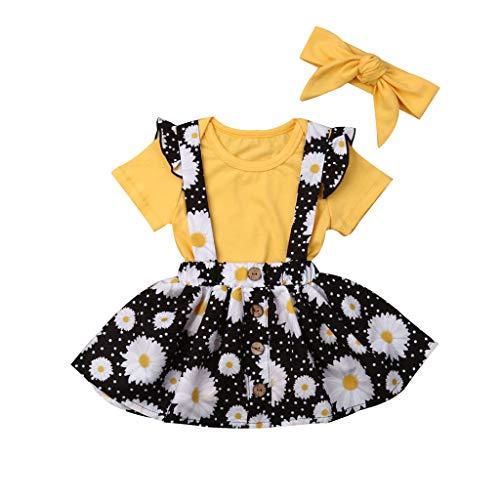 wuayi  Baby Mädchen Kleidung, Mädchen Kurzarm Solide T-Shirts + Blumendruck Rock + Haarband kinderkleidung für Mädchen Outfits 6 Monate - 3 Jahre (Rock Solide Mädchen)