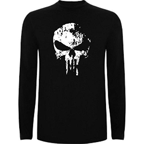 The Fan Tee Camiseta Manga Larga de Hombre Punisher El Castigador Comic Calavera L