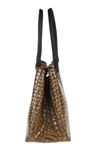 Borsa a Spalla da Donna in Vera Pelle - Made in Italy 46x28x16 cm Marrone chiaro
