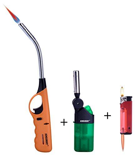 ( 1 St&uumlck ) KONSUMANY Stab- Sturmfeuerzeug XXL 29,5 cm lang flexibel biegsam f&uumlr Grill, + ( 1stk. Stab- Sturmfeuerzeug Mini 12,5 cm lang , und 1stk. Piezo Feuerzeug mit Color Licht )