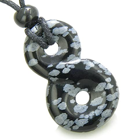 Infinity Magic Powers Knot Lucky Charm Amulet Snowflake Obsidian Pendant