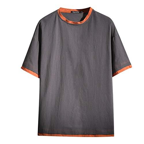 TWISFER Herren Sommer Mode T Shirt Baumwolle Freizeitanzug Männer Baggy Baumwolle O-Ausschnitt Halber Ärmel Fashion Lose-Fit T-Shirts