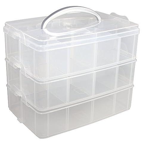 RAYHER Boîte de rangement avec poignée de transport - 13 Compartiments - 23,1 x 15,6 x 18,5 cm
