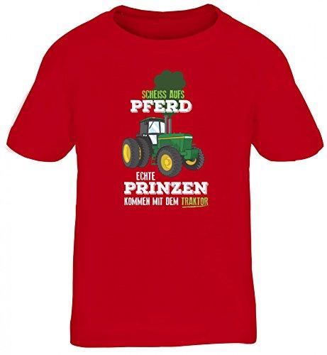 Landwirt Kids Kinder T-Shirt mit Echte Prinzen kommen mit dem Traktor Motiv von ShirtStreet, Größe: 110/116,rot
