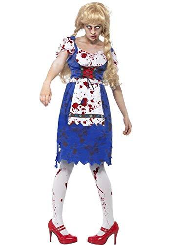 Kostüm Mädchen Bier Zombie - Damen Zombie Dorothy Bayerische Oktoberfest Dead Bier Mädchen Halloween Kostüm UK 8-18 - Blau, 16/18