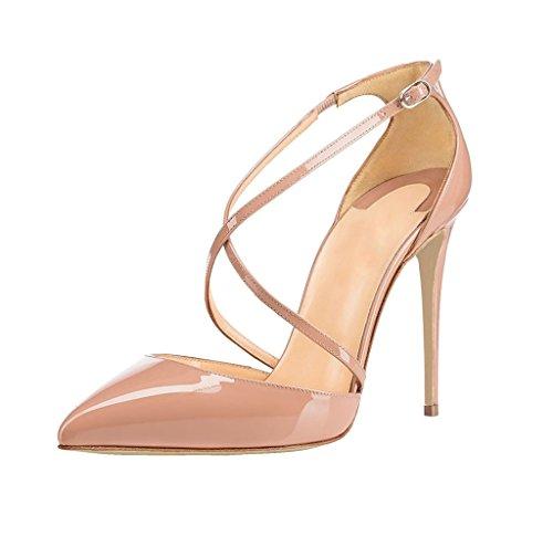 EDEFS - Scarpe col Tacco Donna - Tacco a Spillo - Scarpe con Cinturino Alla Caviglia Beige