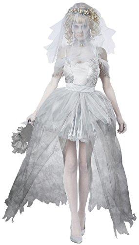 Aimerfeel-Damen Geisterbraut Abendkleid mit Schleier, Kleid und Kopf Kleid Strumpfband und gschnur Größe 36-38