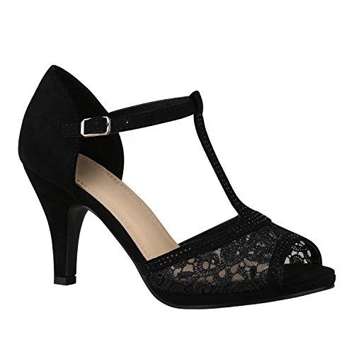 Riemchensandaletten Damen Schuhe Spitze Sandaletten Strass Stilettos 150457 Schwarz Spitze Strass 39 Flandell