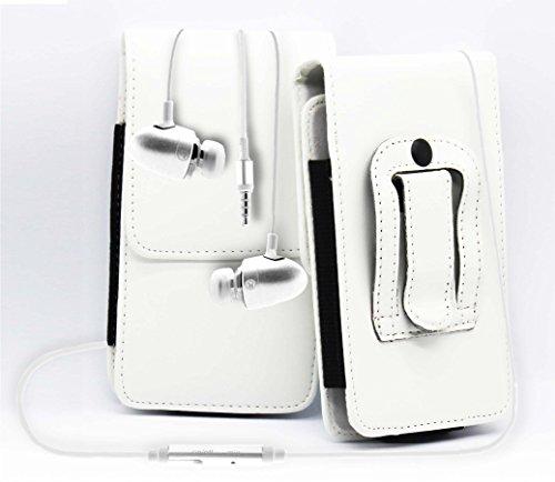 Weiß / White Amazon Fire Mobile Phone Gürteltasche Handy Holster mit magnetischem Verschluss aus PU-Leder Schützhülle Cover mit sicherem Gürtelclip und 3,5mm Stereo-In-Ohr-Kopfhörern von Gadget Giant®