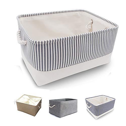 Mangata Zusammenklappbare, verdickte Aufbewahrungsbox aus Leinen mit Seilgriffen (Grau Streifen, Large)