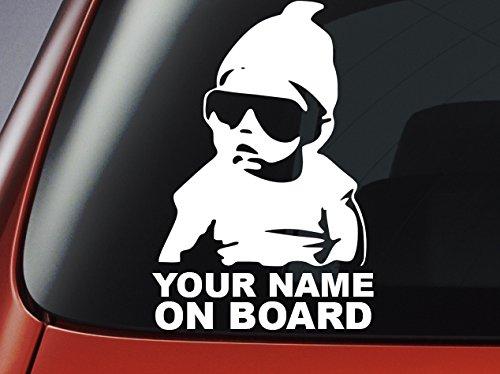 """Personalisierbarer Auto-Aufkleber """"Baby On Board"""", kann mit jedem Namen bedruckt werden, Vinyl"""